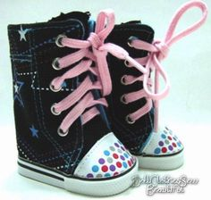 Fancy Black High Top Sneakers W/ STARS for American Girl Doll Clothes Shoes KEWL #Generic