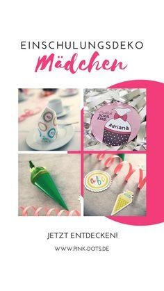 Süße Ideen für Deko zur Einschulung deiner Tochter Party, Dots, Pink, Cute Ideas, Back To School, Daughter, School, Kids, Stitches