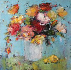 Julia Klimova, Flowers and Lemon, oil, 30 x 30.