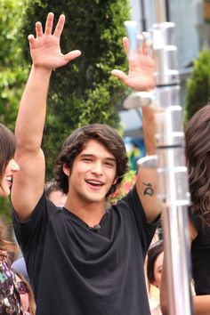 """Tyler Posey Photos - Thursday June 2 Perry from """"Teen Wolf"""" joins his fellow cast members in greeting fans as they make an appearance on """"Extra"""" at the Grove in Los Angeles. - 'Teen Wolf' Stars at 'Extra' Tyler Posey Teen Wolf, Wolf Tyler, Teen Wolf Scott, Teen Wolf Mtv, Teen Wolf Boys, Teen Guy, Scott Mccall, Dylan O'brien, Teen Wolf Tattoo"""