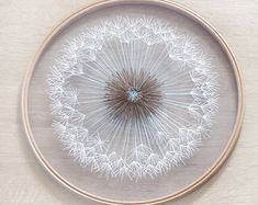 Make a Wish Dandelion Tulle Embroidery Hoop Art - Bridesmaid, Housewarming Gift - OOAK Home Wall Art Decor- Hand Embroidery by Velvet Meadow - Make a wish dandelion tulle hoop art Etsy - Embroidery Hoop Decor, Wooden Embroidery Hoops, Hand Embroidery Patterns, Ribbon Embroidery, Cross Stitch Embroidery, Embroidery Designs, Simple Embroidery, Shirt Embroidery, Fabric Crafts