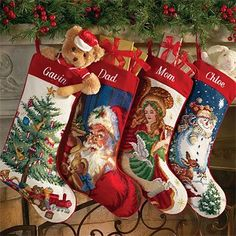 Looking For Something Like These Vintage Christmas Needlepoint Stockings Personalized Needlepoint Christmas Stockings Christmas