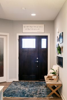 Home Make-Over with Indigo Pops — This Old New House Modern Traditional, Foyer, Entryway, Feeling Used, Family Of 6, Upholstered Bench, Crock Pot, Design Trends, Crockpot