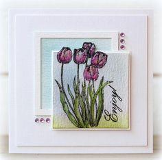 Birgit Edblom created card using Technique Tuesday -- Greenhouse Society stamp set.