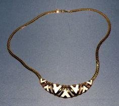 Vintage White Enamel Goldtone Necklace 1980's