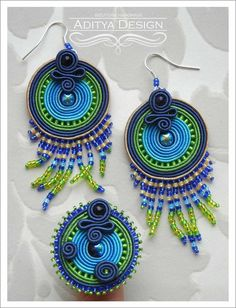 ROUND PAVONE SET  unusual handmade soutache set by AdityaDesign, $61.00