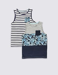 2 Pack Cotton Rich Hibiscus Print Vest Tops (5-14 Years)