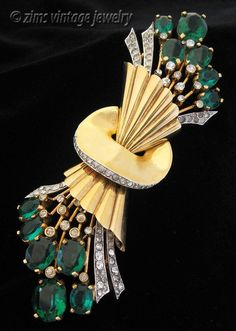 Vintage 1940's MAZER signed Large gold Green rhinestone Floral fan PIN brooch #Mazer