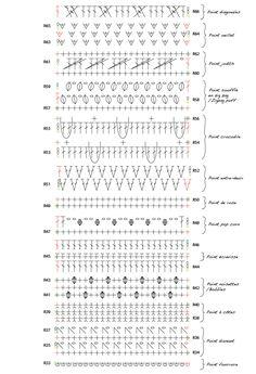 Echarpe de 40 points fantaisie au crochet - HOOKLOOK. Méli-mélo d'idées en laine et au crochet. Art Au Crochet, Plaid Crochet, Crochet 101, Crochet Diagram, Crochet Chart, Crochet Motif, Crochet Flower Patterns, Crochet Stitches Patterns, Crochet Designs