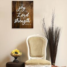 The joy of the Lord is my strength, Nehemiah 8:10, wood sign, hand lettered signs, living room decor, wall decor, modern farmhouse, bible verse decor, bible verse signs, Smoot Photography & Design Bible Verse Decor, Bible Verse Signs, Lord Is My Strength, Joy Of The Lord, Modern Farmhouse, Wood Signs, Hand Lettering, Repurposed, Living Room Decor