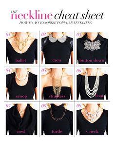 How to accessorize popular necklines...