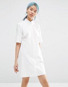 ASOS WHITE Shirt Dress With Asymmetric Front Detail