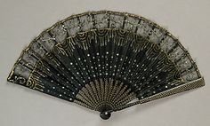 Fan Made Of Wood, Silk, Sequins, Metal And Paper - French The Metropolitan Museum Of Art Antique Fans, Vintage Fans, Edwardian Era, Victorian Era, Hand Held Fan, Hand Fans, Fan Decoration, Costume Collection, Historical Clothing