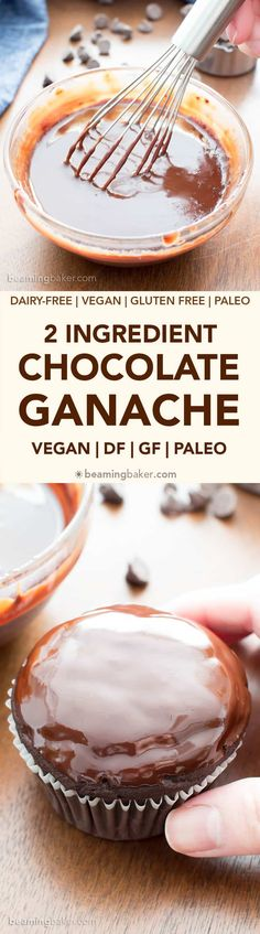 How to Make Chocolate Ganache Recipe (V, GF): an easy step-by-step tutorial for rich, decadent chocolate ganache! Paleo Dessert, Healthy Desserts, Easy Desserts, Delicious Desserts, Dessert Recipes, Decadent Chocolate, How To Make Chocolate, Chocolate Ganache, Chocolate Chips