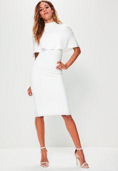 Missguided - White Frill Overlay Shoulder Midi Dress