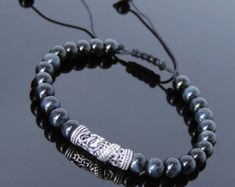 Handmade Men Women Gemstone Bracelet Black Obsidian от DiyNotion