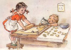Cute children's illustration (illustration of a little boy with a cat and a girl preparing dough with a rolling pin) Vintage Cards, Vintage Photos, Baby Pop, Children's Book Illustration, Vintage Children, Cat Art, Illustrators, Art For Kids, Fairy Tales