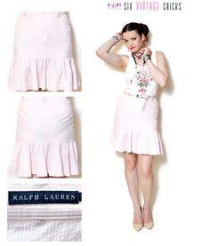 ruffle Skirt vintage high waisted skirt striped skirt resort wear women clothing mini 90s clothing vintage pink retro Boho S by SixVintageChicks on Etsy