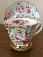 Allyn Nelson English Fine Bone China Tea Cup & Saucer:Light Blue W/ Pink Roses