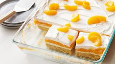 An Orange Creamsicle becomes a potluck dessert in this creamy lush. Sugar cookie mix makes a perfect cookie crust, topped with creamy vanilla pudding, orange Jell-O™ and Cool Whip™ whip Potluck Desserts, 13 Desserts, Summer Desserts, Easter Desserts, Pudding Desserts, Potluck Recipes, Orange Creamsicle, Creamsicle Cake, Tater Tot Casserole
