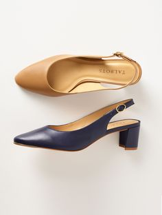 53120413 The just-right heel height on these classic slingback pumps will comfort  your feet.