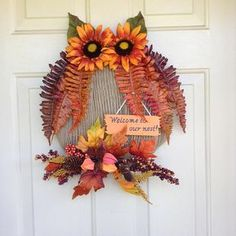 Fall Wreath Owl Wreath Welcome Wreath Fall Owl Welcome Owl Wreaths, Easy Fall Wreaths, Diy Fall Wreath, Wreath Crafts, Wreath Ideas, Burlap Wreath, Outside Fall Decorations, Thanksgiving Decorations, Fall Owl