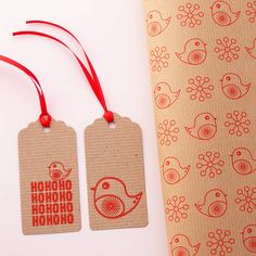 Robin with father christmas tag and jolly robin wrap