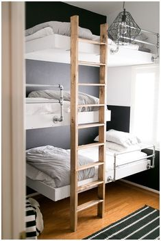 """40 Cute Triple Bunk Bed Design Ideas For Kids Rooms To Have - Many of us who grew up in the """"old days"""" have very fond memories of life in bunk beds. Whether you shared your room with your brother or sister or fir. Bunk Beds For Boys Room, Bunk Beds With Stairs, Bunk Rooms, Kid Beds, Kids Bedroom, Bedroom Ideas, Master Bedroom, Kids Rooms, Bunk Bed Ladder"""