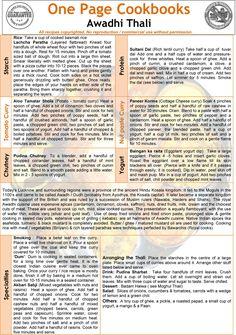 Awadhi Thali - From Indian Veg Thali Cookbook Old Recipes, Cookbook Recipes, Pizza Recipes, Indian Food Recipes, Snack Recipes, Veg Thali, Cooking Tips, Cooking Recipes