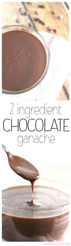 Two Ingredient Chocolate Ganache - this is so easy and awesome for decorating cakes and desserts. Takes less than 5 minutes and you can use the microwave!!!