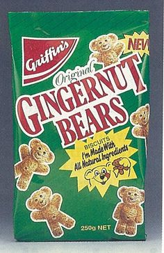 1991 Griffins Gingernut Bears Biscuits Packet - New Zealand Griffins, Snack Recipes, Snacks, Pop Tarts, Biscuits, Bears, Packaging, The Originals, Vintage