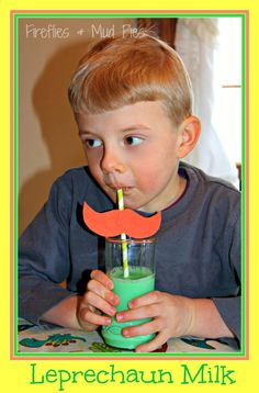 Leprechaun Milk with Mustache Straws