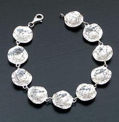 "Zina - 7 1/2"" Sahara Petal Sterling Silver Link Bracelet #36566 $300.00"