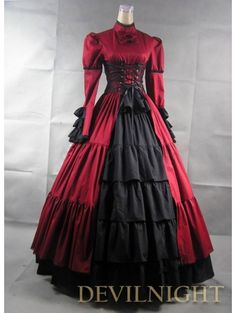 Red and Black Long Sleeves Masquerade Gothic Ball Gowns - Devilnight.