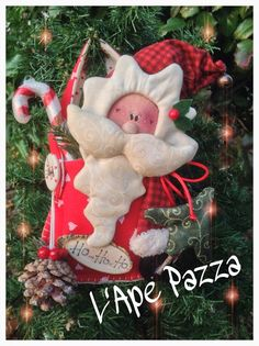 Patrones Santas y elfos 2014: patrón de papel papá y renos en su bolso Christmas Applique, Christmas Gnome, Christmas 2016, Christmas Projects, Merry Christmas, Xmas, Christmas Decorations, Christmas Ornaments, Holiday Decor