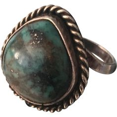 Old Pawn Era Sterling Silver Genuine Turquoise Navajo Ring