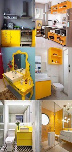 Amarelo na Decoração - Banheiros e cozinhas