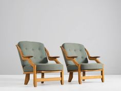 Pair of slat back lounge chairs by Guillerme & Chambron image 2