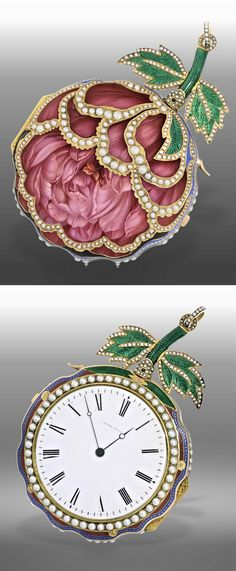 An extremely fine and rare antique gold, enamel and pearl watch 'The Peony'…