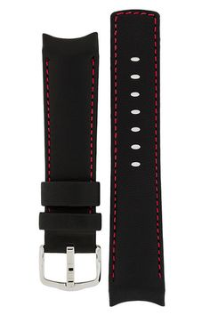 Hirsch Medici curved ended leather watch strap in black with red stitching - for Speedmaster