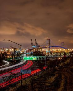 Vincent Thomas Bridge at night, Los Angeles. City Lights At Night, Night Light, Gas Lights, Bridge, Ocean, Instagram Posts, Bridge Pattern, Sea, The Ocean
