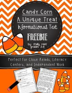 {FREEBIE} Candy Corn - A Reading Freebie for Grades 3-6 - High-Interest Informational Text, worksheet, and answer key! Fun topic!