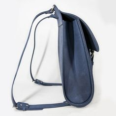 Side of blue leather backpack 15.6 inch laptop backpack
