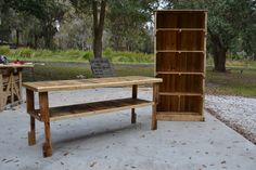 """72"""" table and 6"""" bookcase handcrafted from pallet wood"""