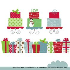 Clip Art  Christmas Presents and Cakes - Clip art set -  Xmas1