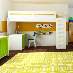 Utilize space with the Alex Loft Bed by ducduc.   This unique and modern loft bed features an armoire with one shelf and hanging bar for additional storage