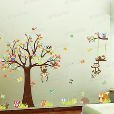 Huge Animals Jungle Zoo & Tree Wall Sticker For Kids Nursery Decals Mural Decor