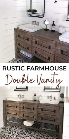 Plans for a rustic farmhouse double bath vanity created by Ana White. #anawhite #diy #furniture #bathroom #doublevanity #farmhouse Double Bath, Double Vanity, Do It Yourself Decorating, Bath Vanities, Ana White, Home Hacks, Rustic Farmhouse, Woodworking Projects, Diy Furniture