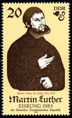 Briefmarke der DDR. 500. Geburtstag von Martin Luther (I): M. Luther als Junker Jörg (Gemälde von Lucas Cranach d. Ä.)