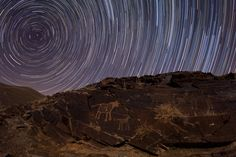 """Teimareh Petroglyphs and Star Trails  [Image Credit & Copyright: Babak Tafreshi (TWAN)] Polaris is at the center of the trails. ©Mona Evans, """"Polaris -10 Fascinating Facts"""" http://www.bellaonline.com/articles/art178625.asp"""